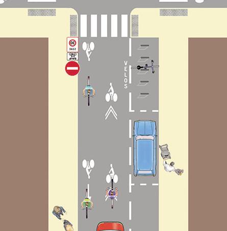 dessin trajectoire de cycliste dans une rue